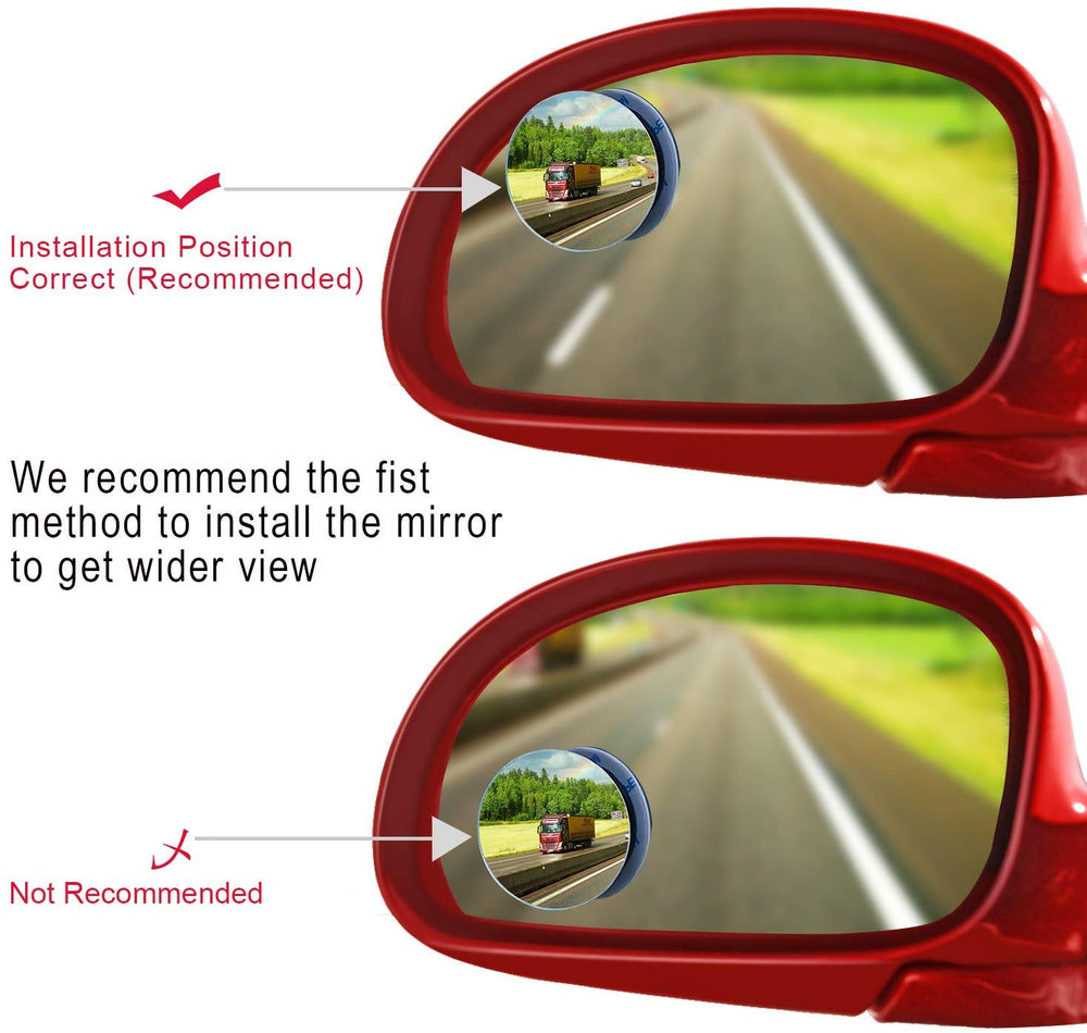 4PCS Blind Spot Mirror Wide RearView Mirror Small Round Mirror
