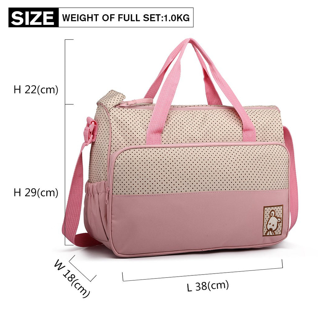 5 Pcs Baby Nappy Changing Bags Set Multifunction Diaper Messenger Bag