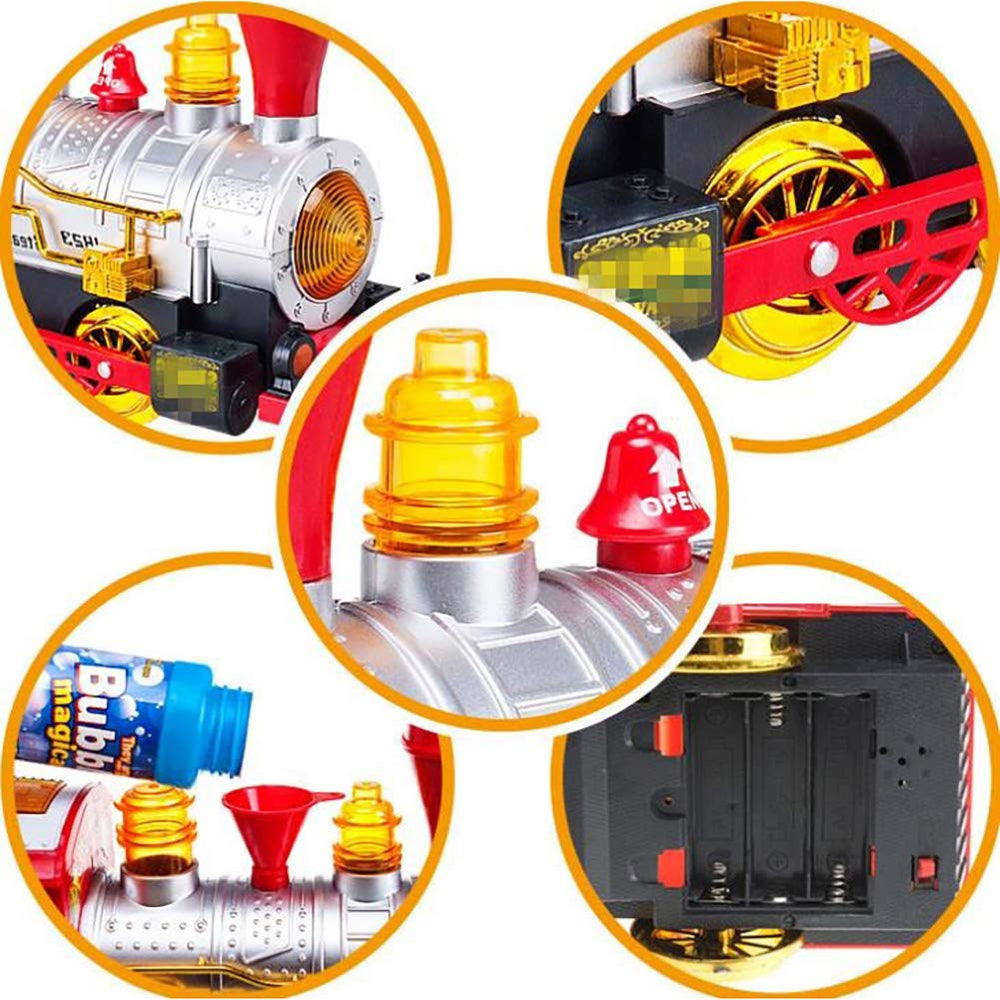 Kids Bubble Bump-N-Go Train Fire Truck Toy with Lights Sounds Bubble Maker