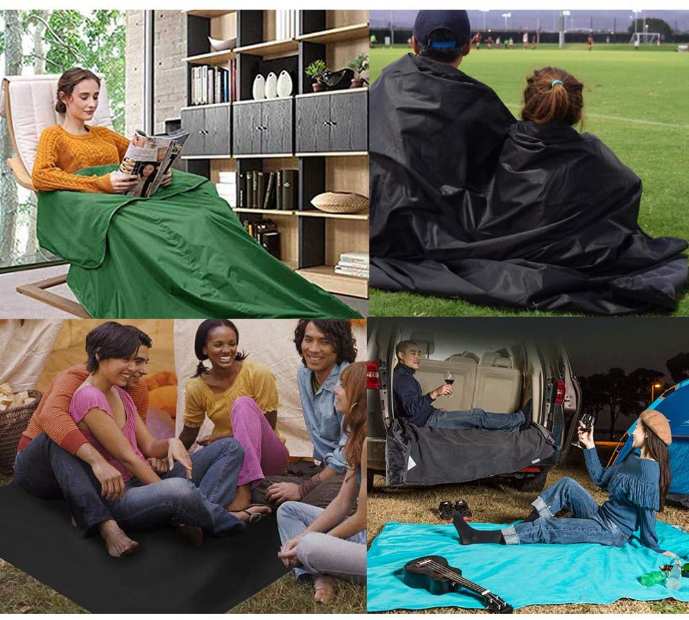3 in 1 Portable Waterproof Outdoor Fleece Hooded Blanket Picnic Mat Rain Ponchos