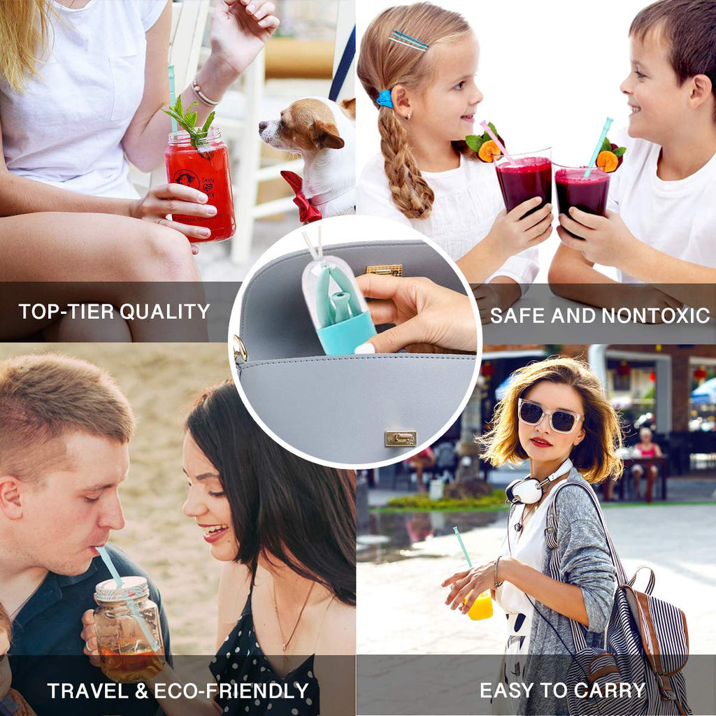 4 Pack Non-toxic Foldable Travel Collapsible Silicone Reusable Drinking Straw+Brush
