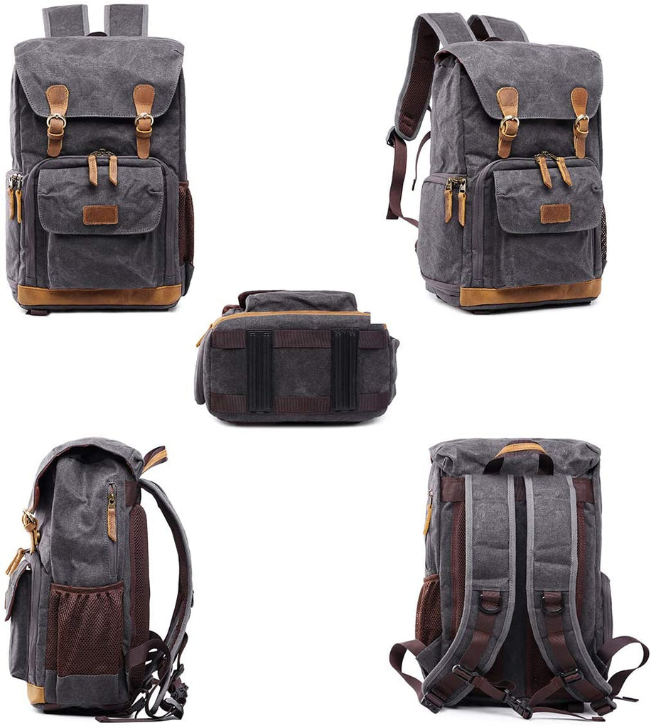 Waterproof Canvas Camera Backpack Case Bag