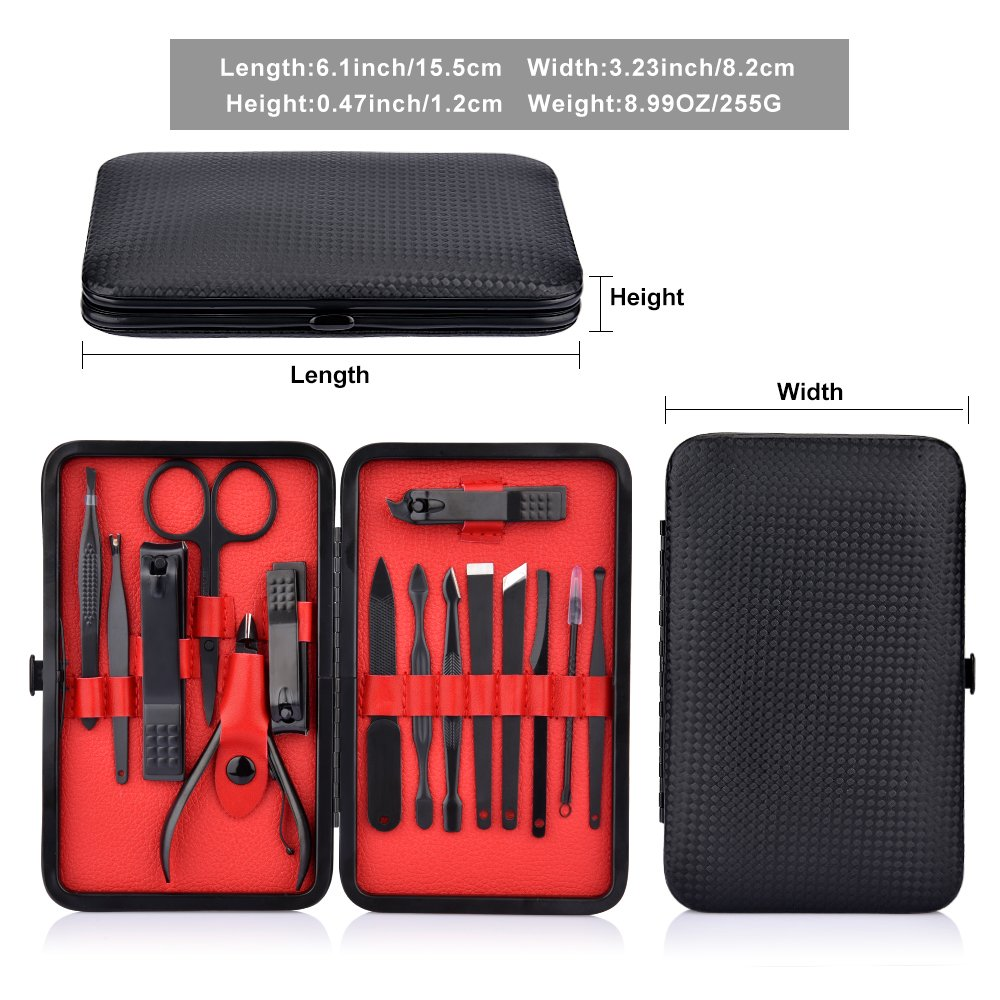 15 Pcs Professional Stainless Steel Nail Clipper Travel & Grooming Kit Nail Tools Manicure & Pedicure Set