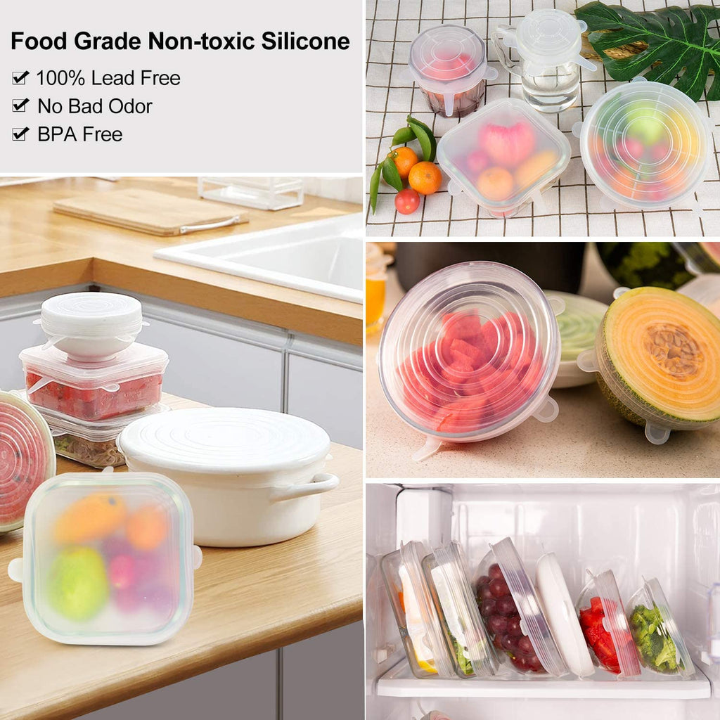 12 Pcs Silicone Stretch Lids Reusable Food Bowl Covers