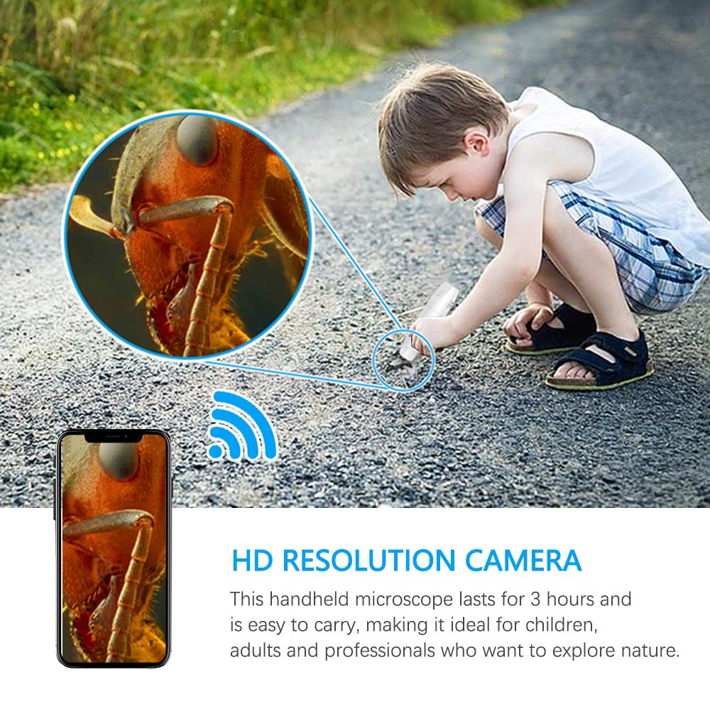 1080P Wireless WIFI Digital Microscope Handheld USB Microscope Camera with 8 LED Lights