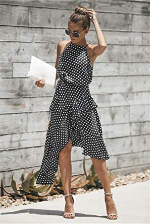 Womens Asymmetric Hem Polka Dot Long Dress