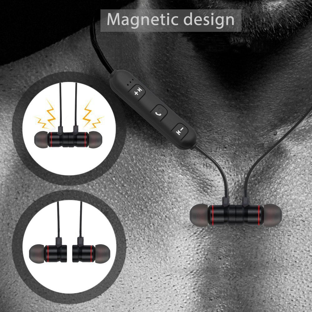 Magnetic Wireless Bluetooth 4.2  In-Ear Stereo Earbuds Headphones Sport  Headset Running Cycling
