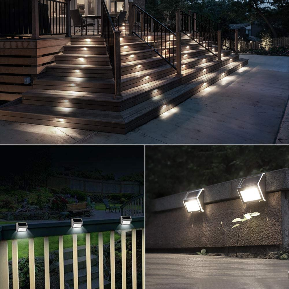 4/6/12  Pack Waterproof LED Solar Powered Stair Lights Outdoor Step Pathway Lamp