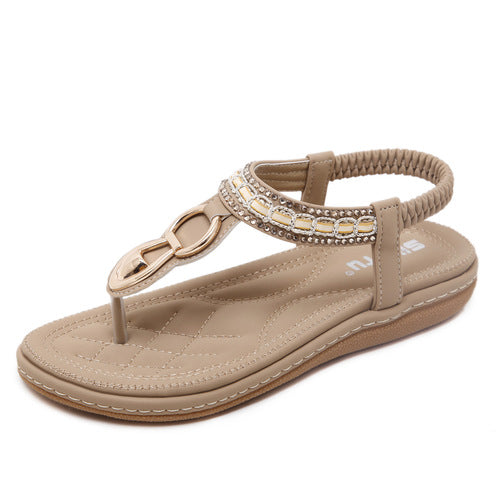 Bohemian Women Metal Decoration Flat Sandals Flip Flop Shoes