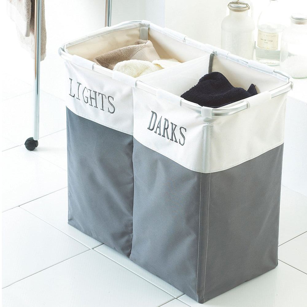 Double Compartments Folding Laundry Basket