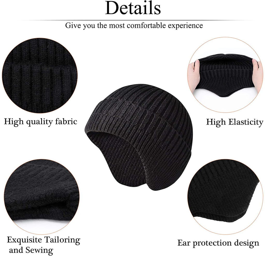 2 Pack Winter Outdoor Earmuff Cap Knitted Beanies Earflap Hats