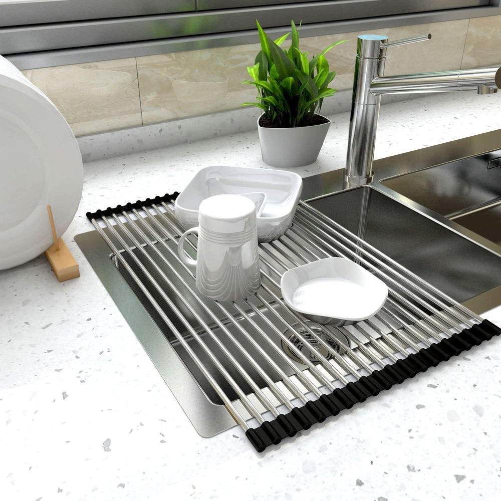 Multipurpose Sink Roll-Up Dish Drying Rack Drainer Mat