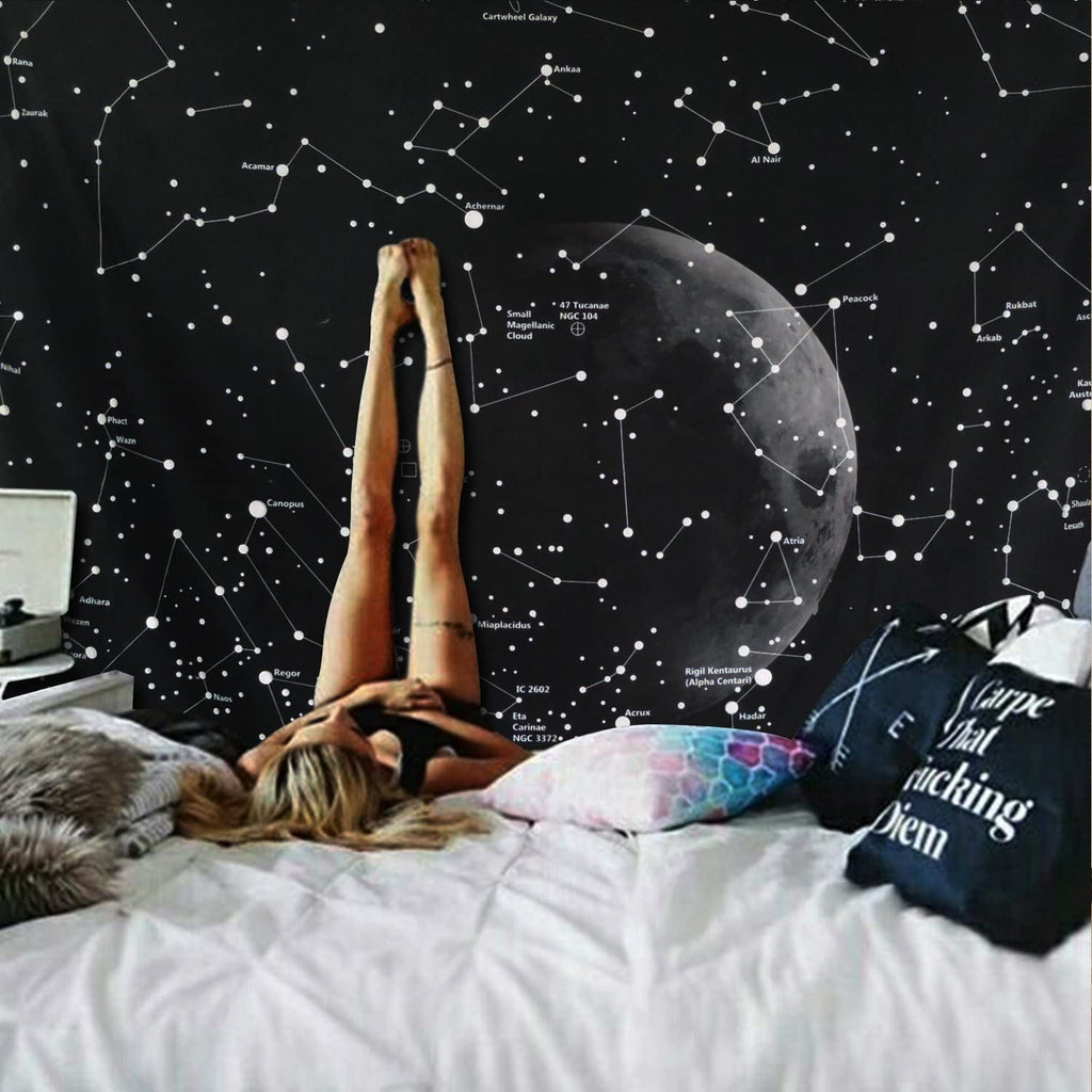 Moon Constellations Tapestry Wall Hanging Blanket
