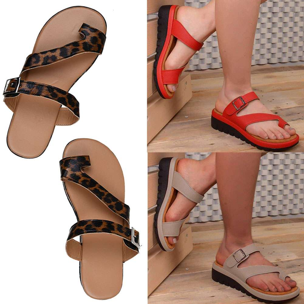 Women Casual Comfy Clip Toe Buckle Slip On Sandals