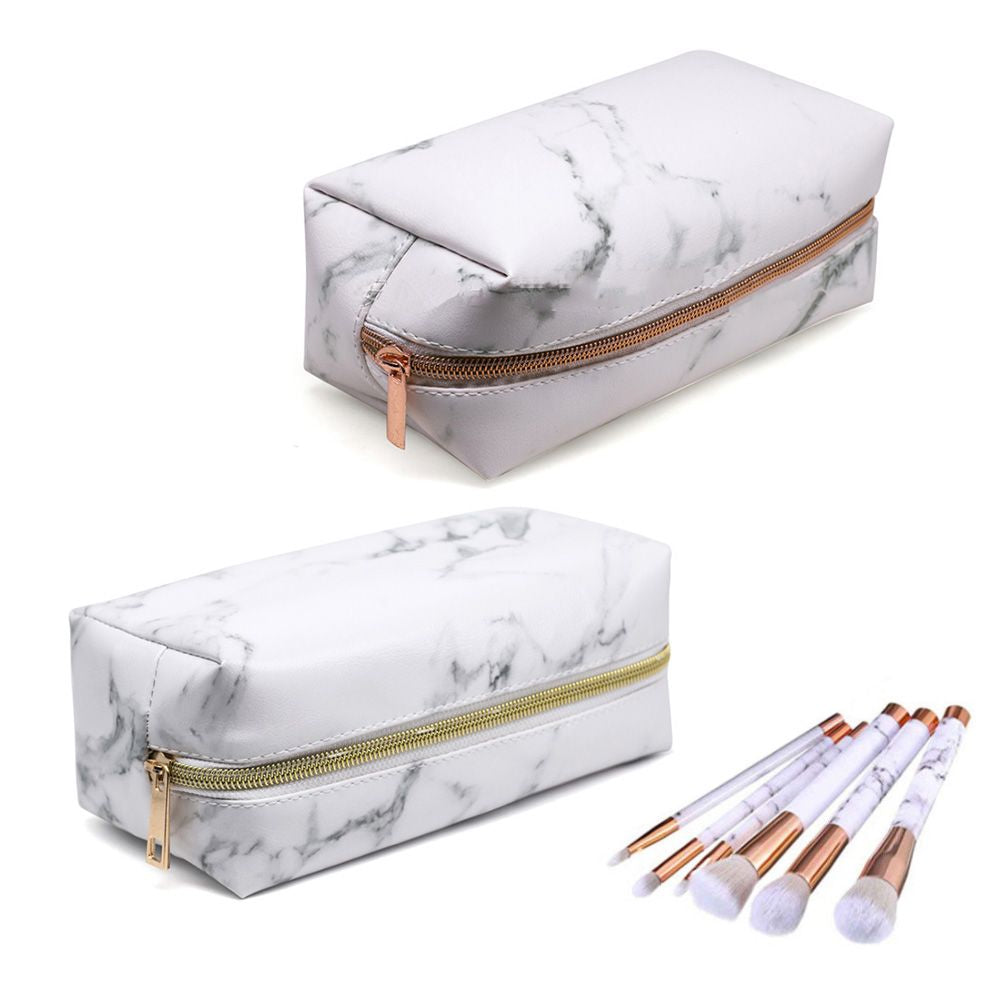 2 Pack Portable Marble Makeup Bag  PU Travel Cosmetic Pouch