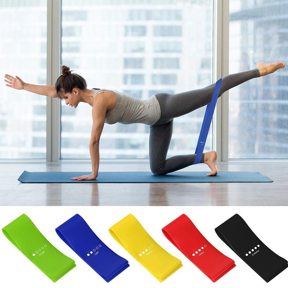 5PCS Rubber Resistance Loop Band Exercise Yoga Fitness Bands Set