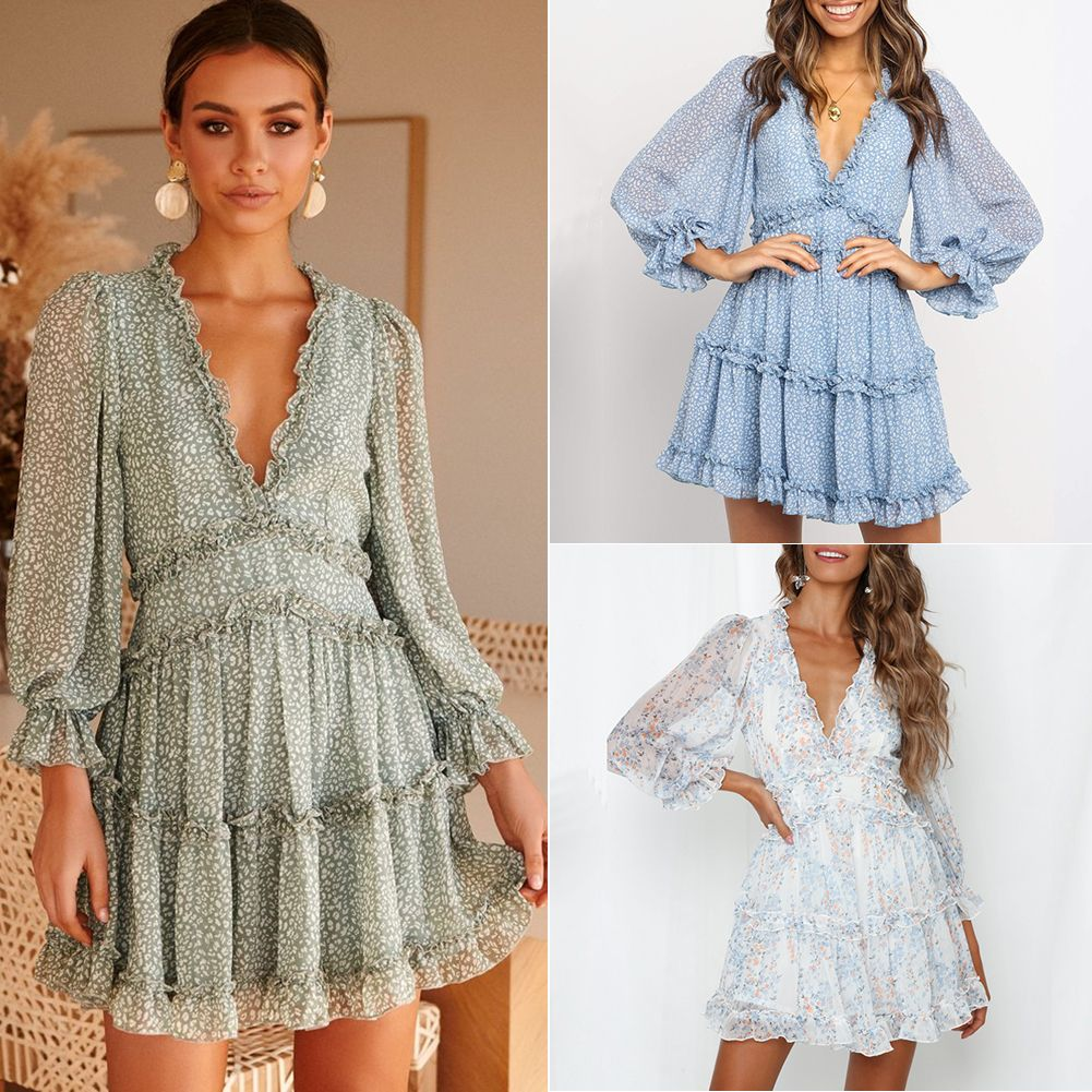 Women Summer Sexy Print Ruffle Chiffon Short Dress