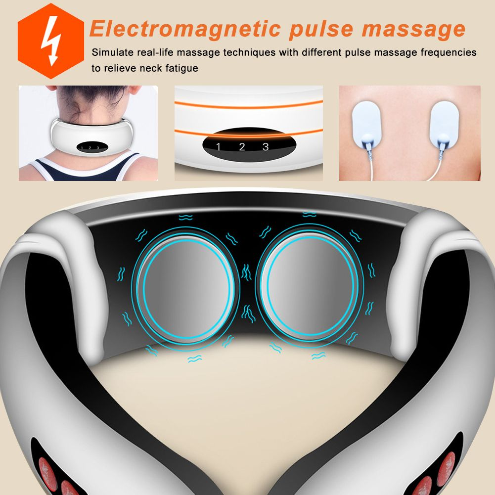 Electric Tens Unit Pulse Neck Massager Magnetic Pulse Therapy Vertebra Relax