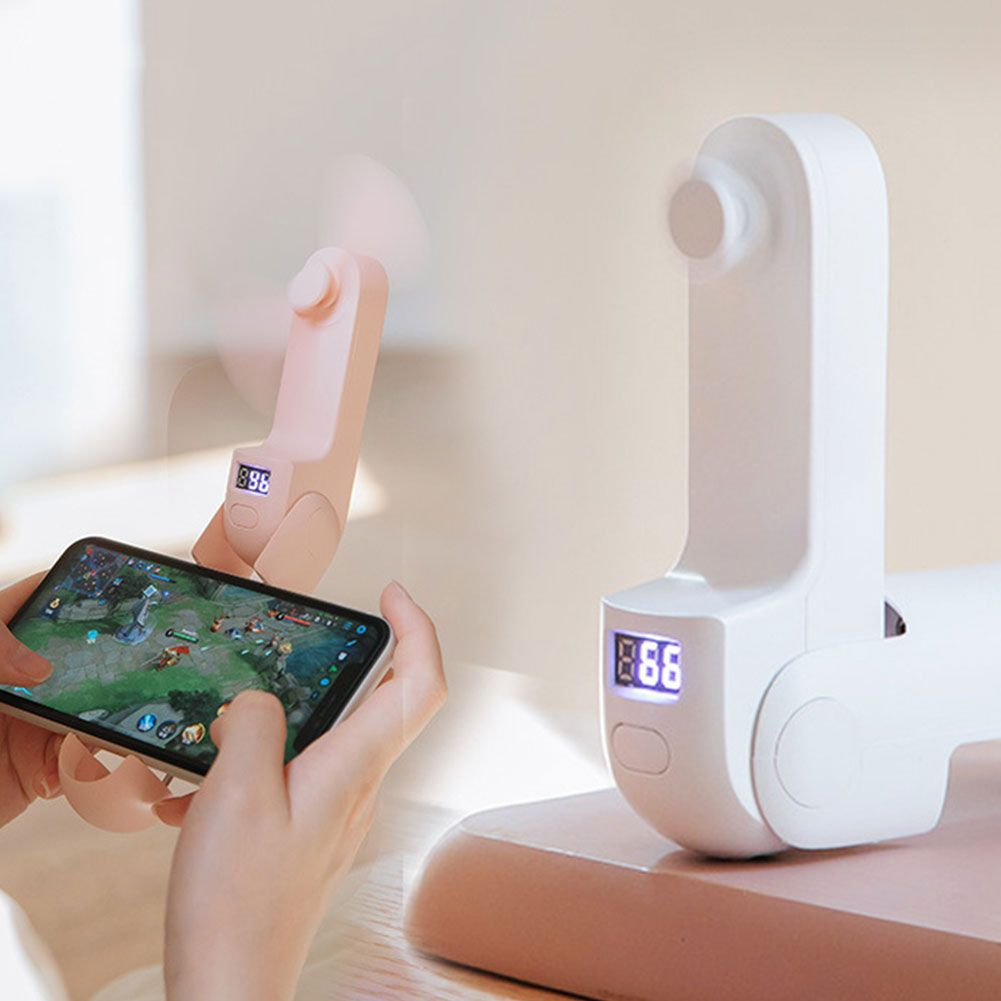 Portable Folding Mini Handheld Fan with Phone Holder Power Bank