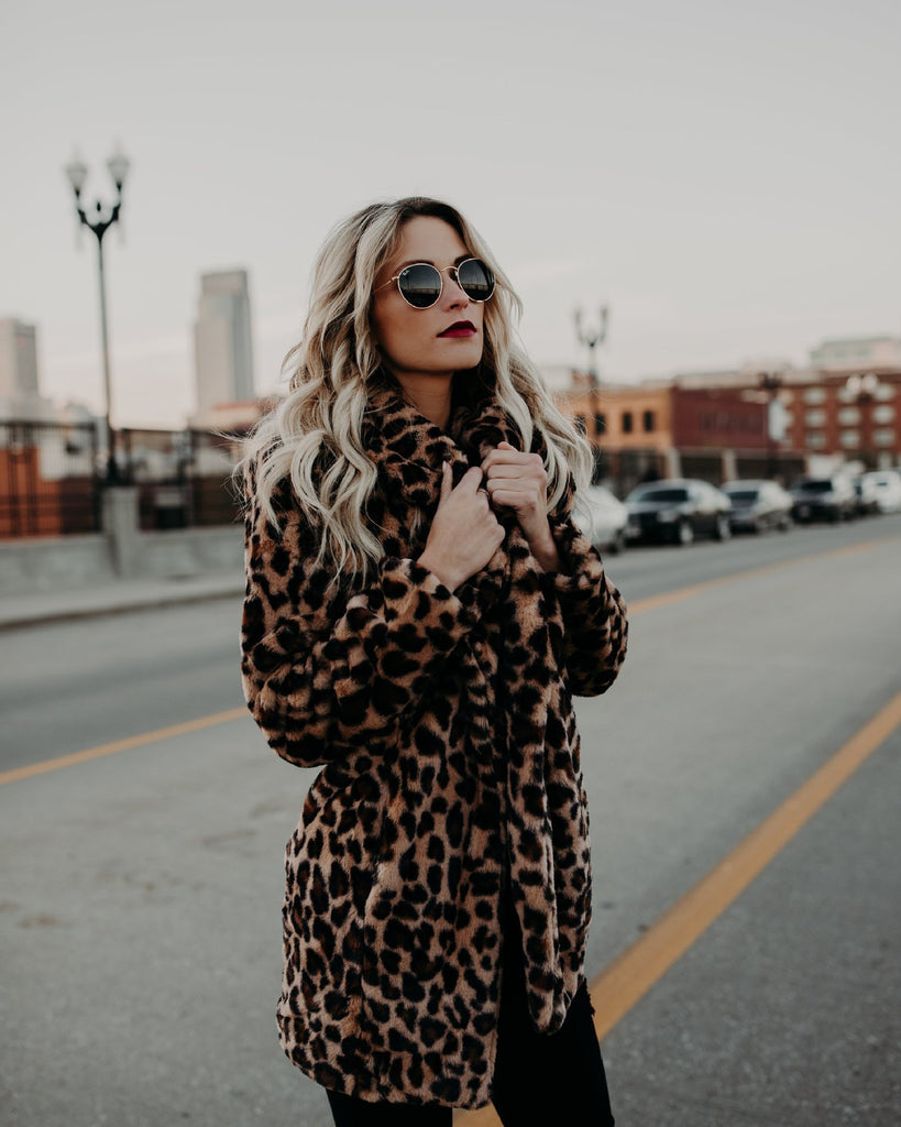 Women Winter Leopard Coat Jacket