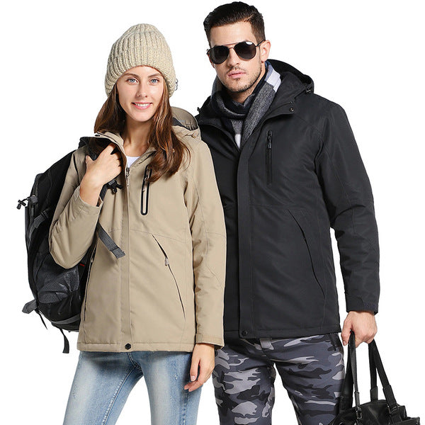 Unisex Waterproof Digital Heating Hooded Outdoor Windproof Jacket