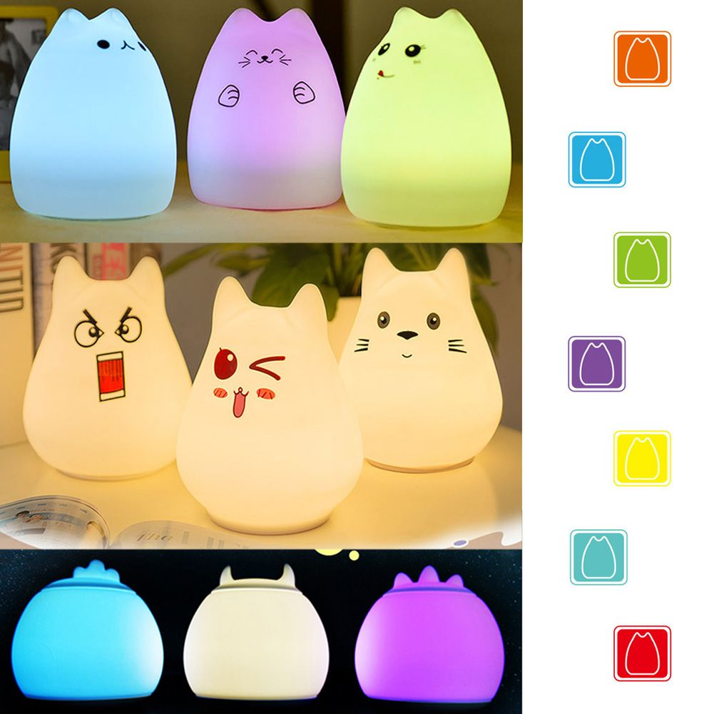 USB Silicone Cat LED Night Light Soft Cartoon Baby Nursery Lamp