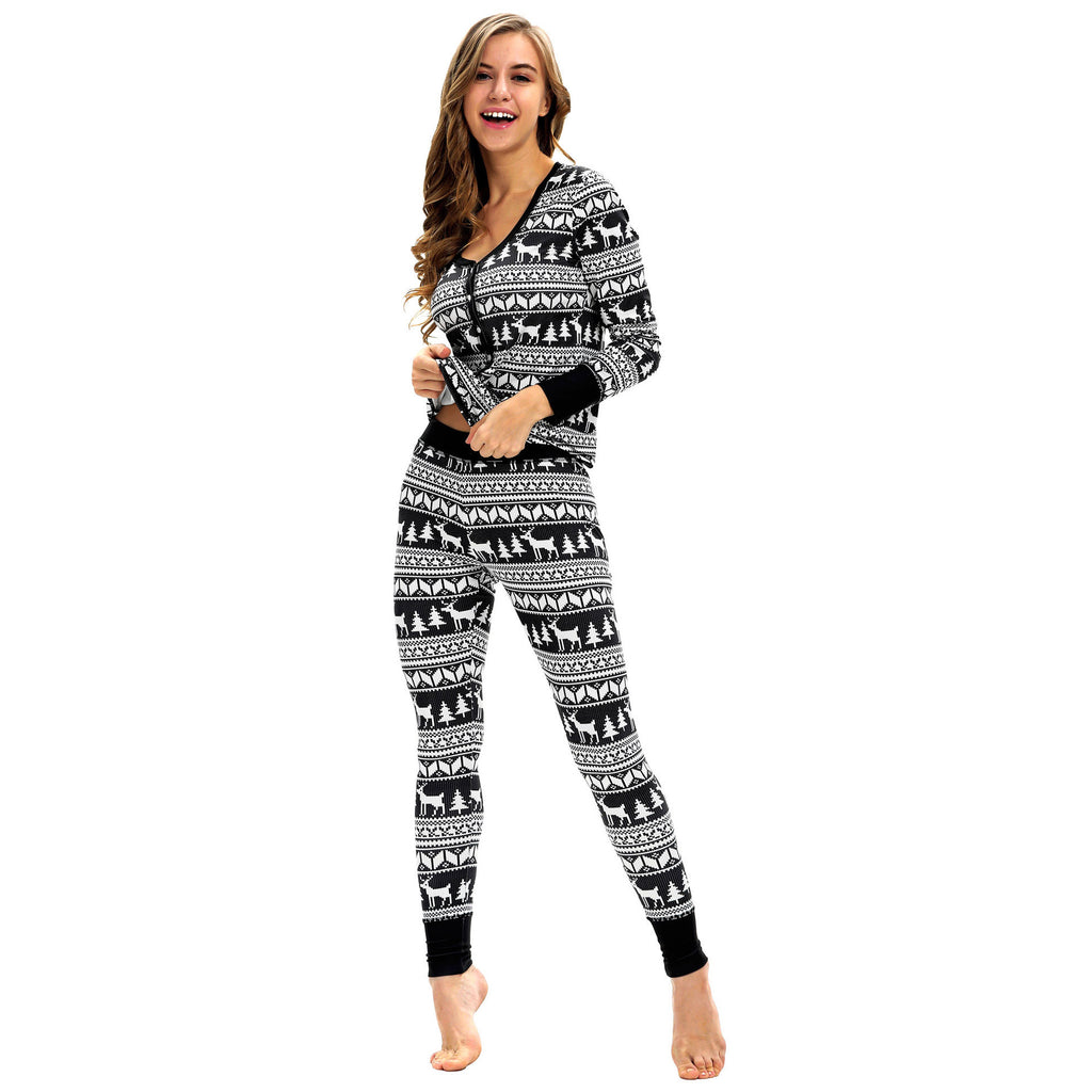 Women Snowflake Long Sleeve Christmas Pajamas Set