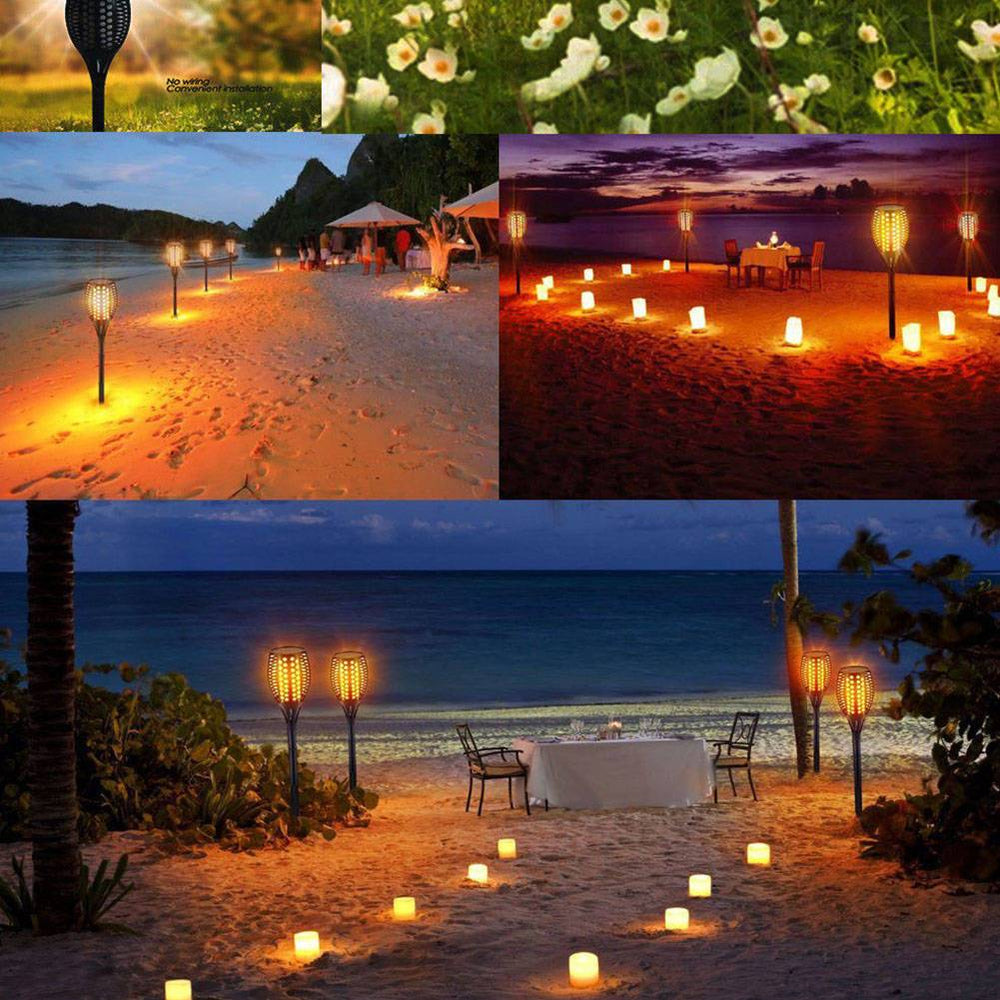 Solar Torch Garden 96LED Light Dancing Flickering Fire Flame Landscape Lamp
