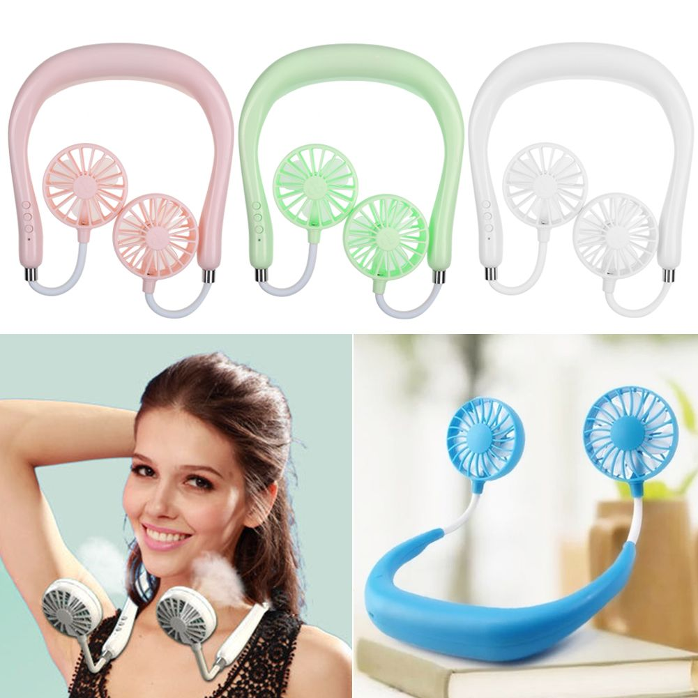 Small Neck Band Portable Mini Air Fan USB Rechargeable