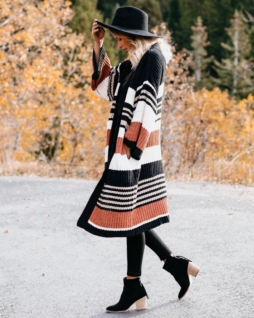 Women Fashion Striped Long Sleeve Knit Cardigan Coat