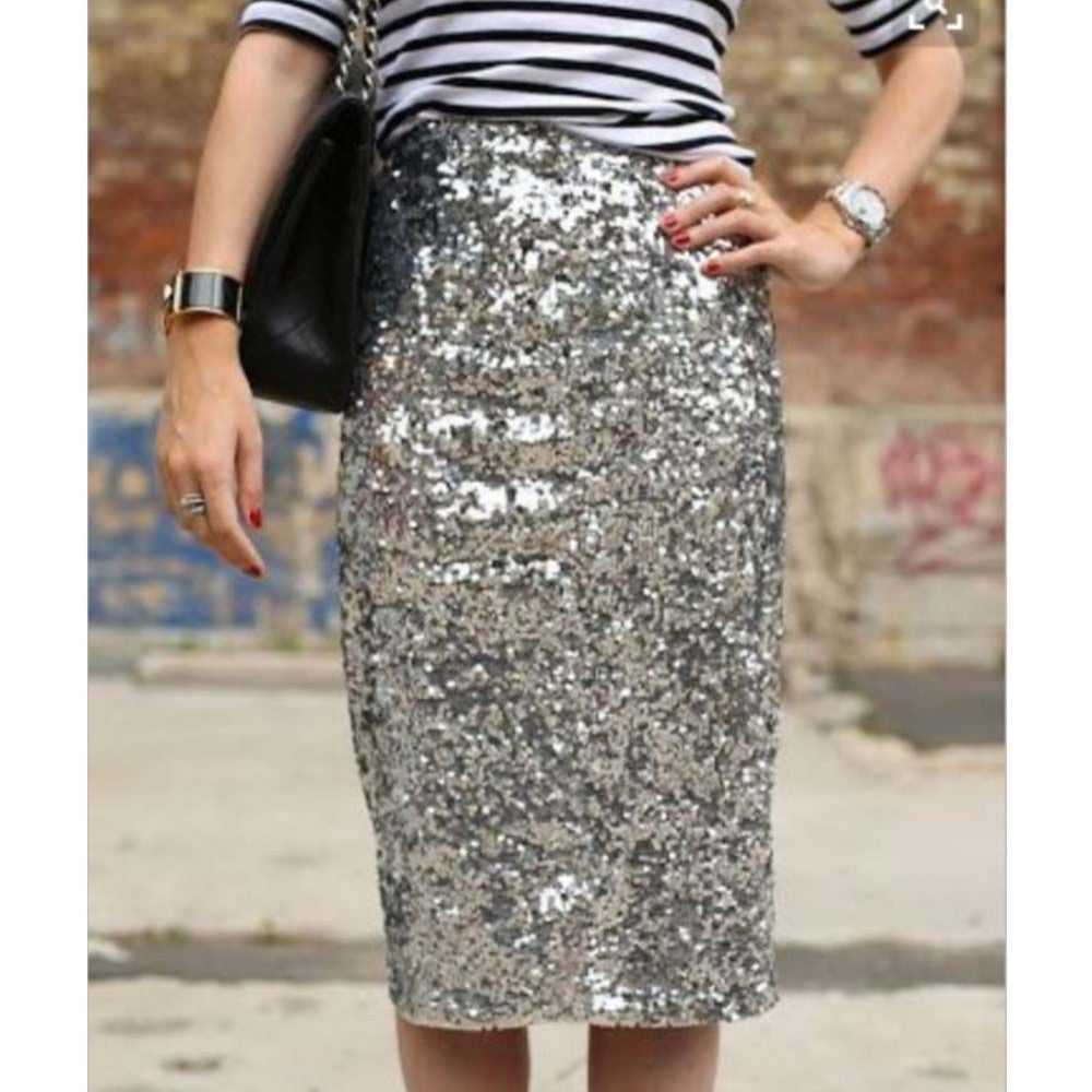 High Waist Sequined Women''s Skirt Elegant Knee Length