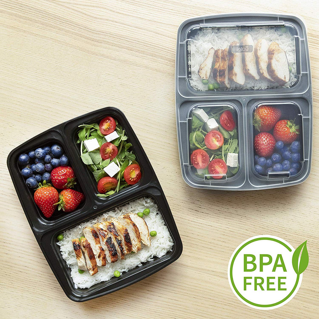 10 Pack 3 Compartment BPA-Free Food Storage Lunch Box
