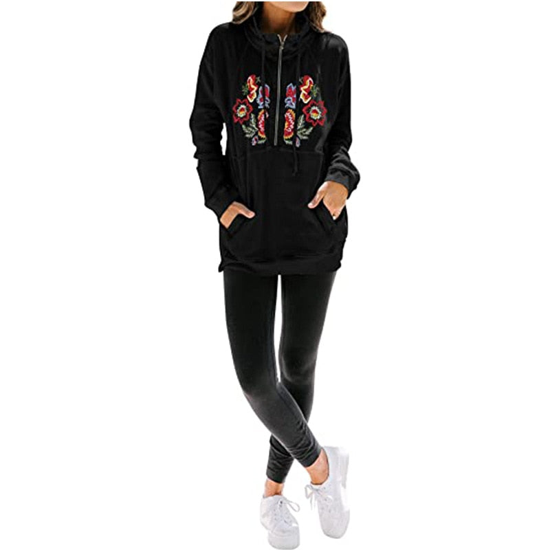 Embroidery Half Zip-Up Lapel Pullover with Pocket