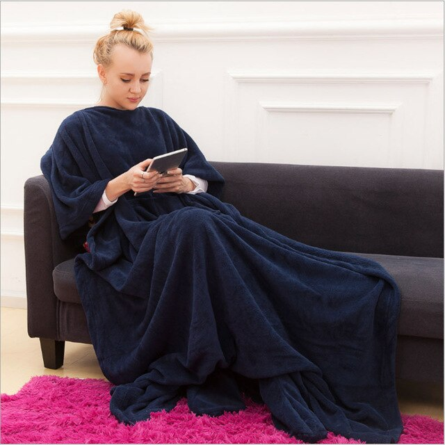 Fleece Warm Blanket with Sleeves Lazy TV Blanket Pocket