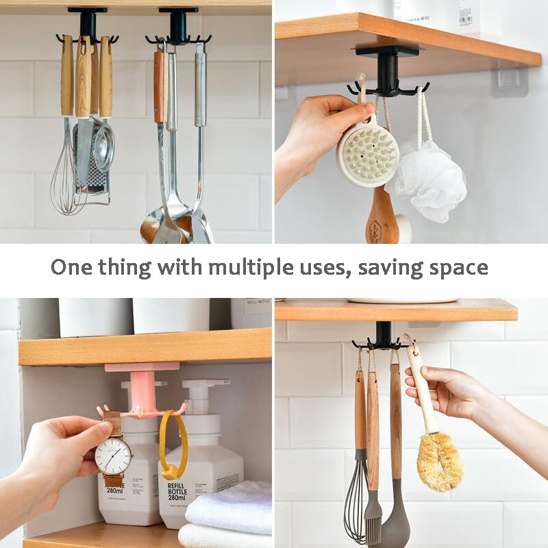 3 Pack Kitchen Organizer Storage Holder Rack with 6 Rotatable Hooks