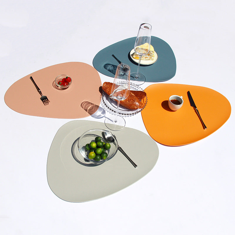 2Pcs Waterproof PU Leather Placemat Tableware Pad Coaster