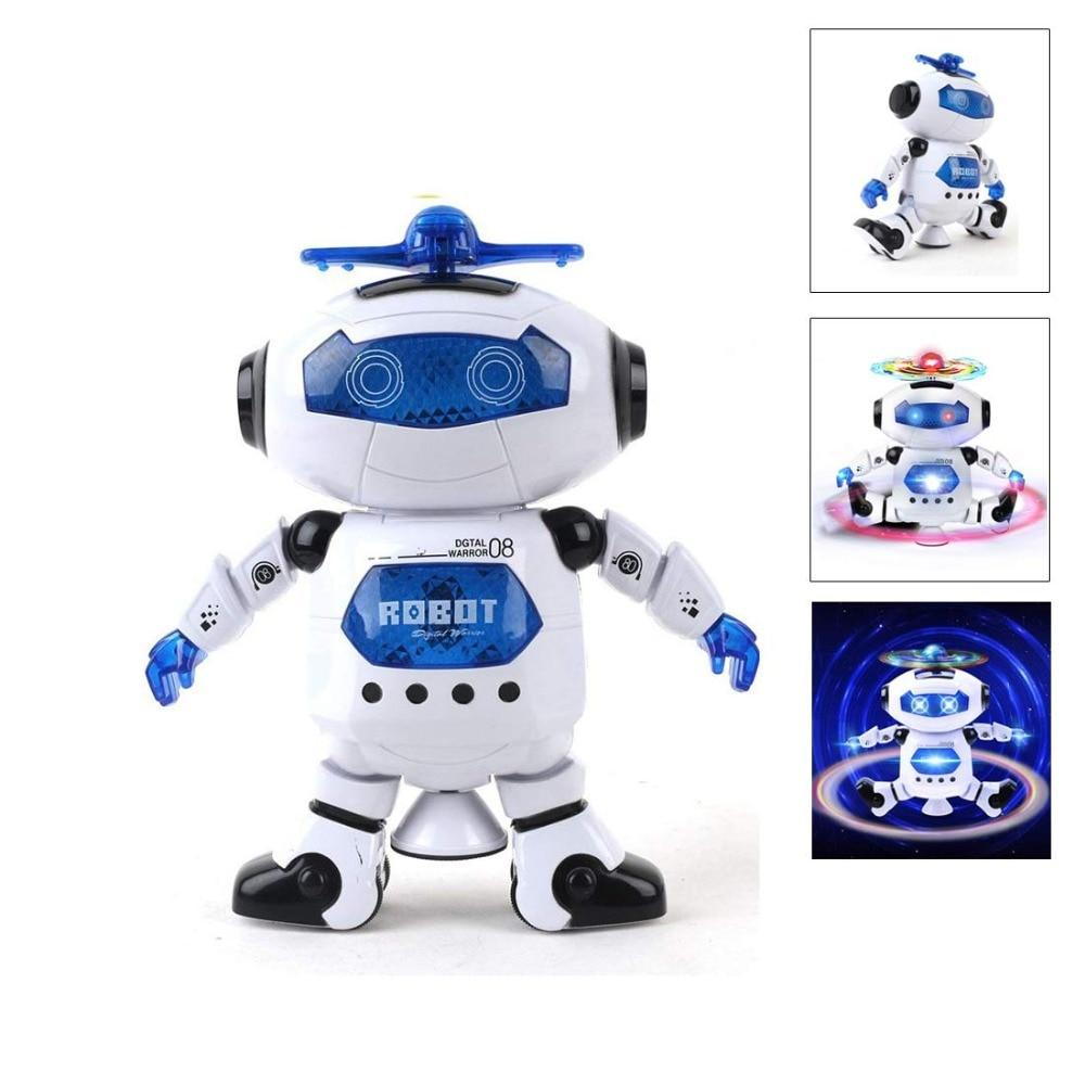 360 Degree Rotation Robot Toys with Music Flashing Lights Dancing Robot - shopmeko