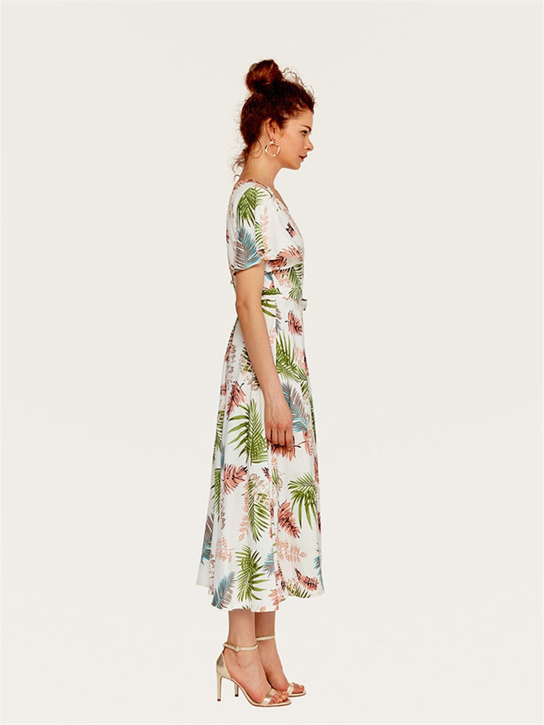 Tropical Leaves Print Belted Maxi Wrap Dress V Neck Ladies Long Dress