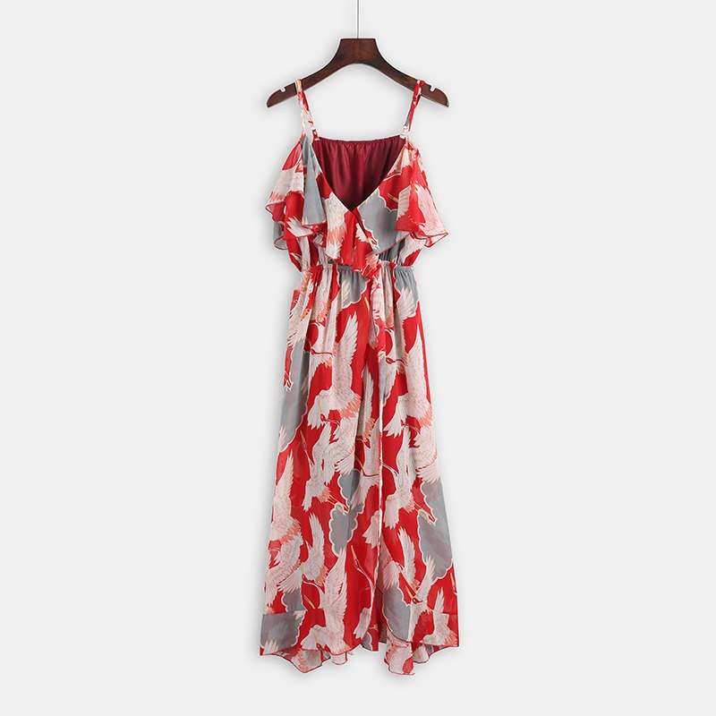 Sexy V Neck Strap Split Maxi Dress Summer Beach Boho Long Dress