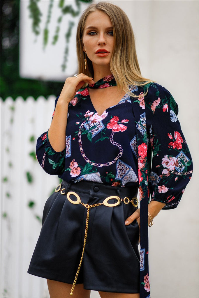 Women Spring Summer Print Loose V Neck Floral Blouse With Bow Tie Fashion Shirts