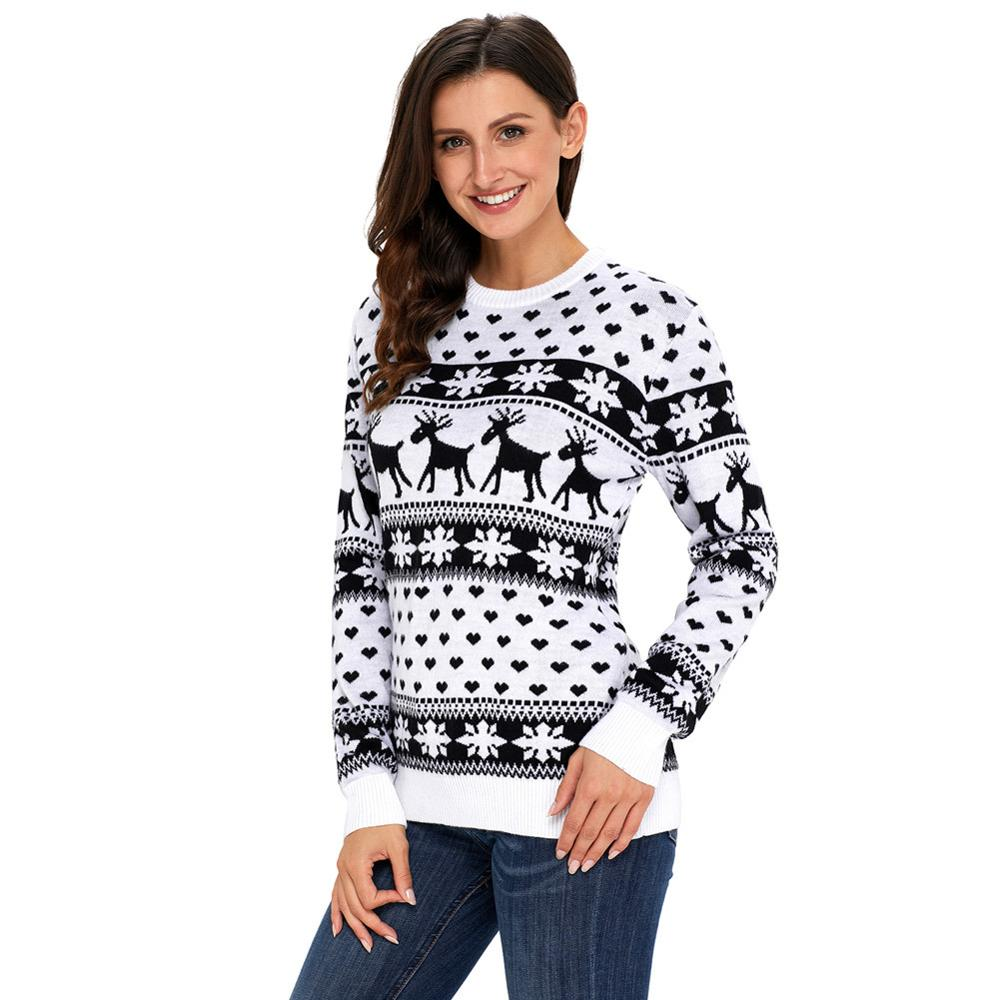 Women Round Neck Long Sleeve Print Christmas Sweater