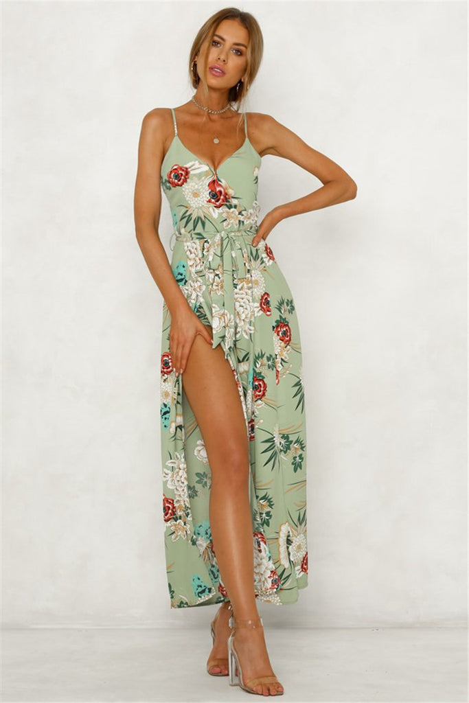 Floral Beach Deep V Backless Romper Overalls Split Wide Leg Strap Jumpsuit