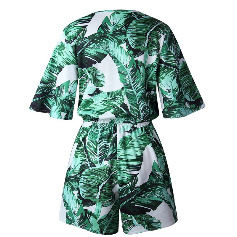 Sexy Deep V Summer Overalls Romper Short Jumpsuit Tropical Print Playsuit Drawstring Waist Beach