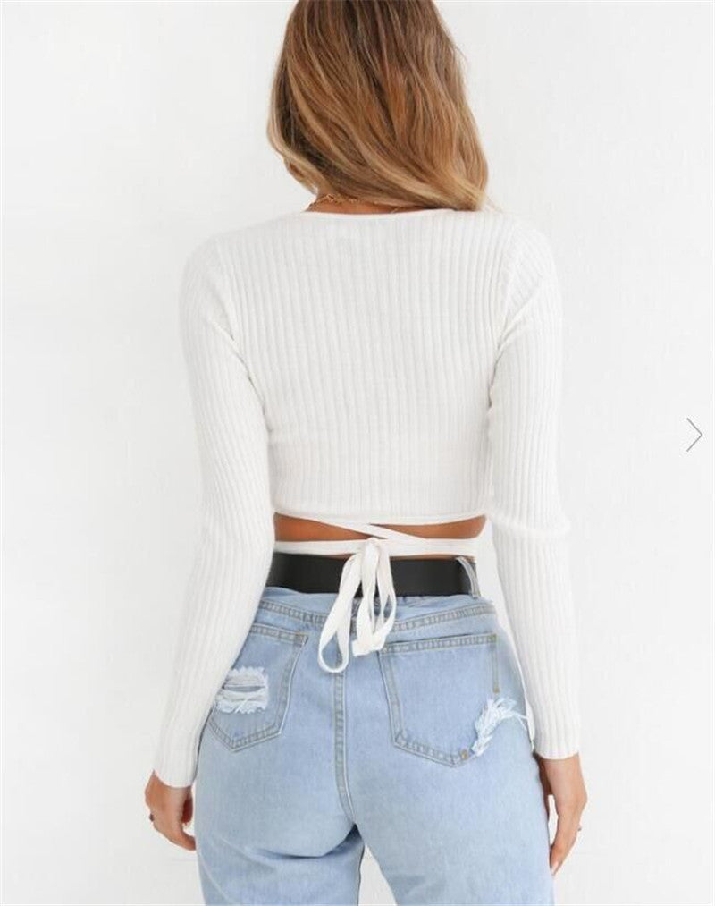 Knitted Strappy Long Sleeve T Shirt Sexy V Neck Lace Up Crop Top