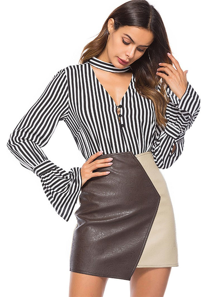 Sexy Deep V Hollow Out Blouses Choker Collar Flare Sleeve Striped Shirts Top