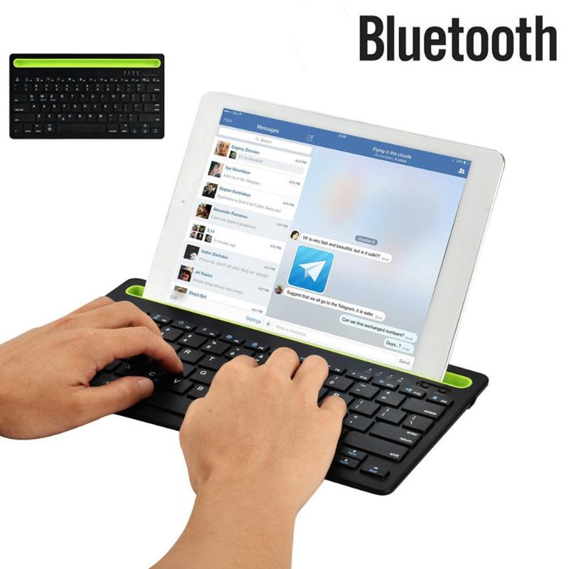 Dual Channel Wireless Bluetooth Keyboard with Groove Bracket For Windows / Mac OS / Android / iOS
