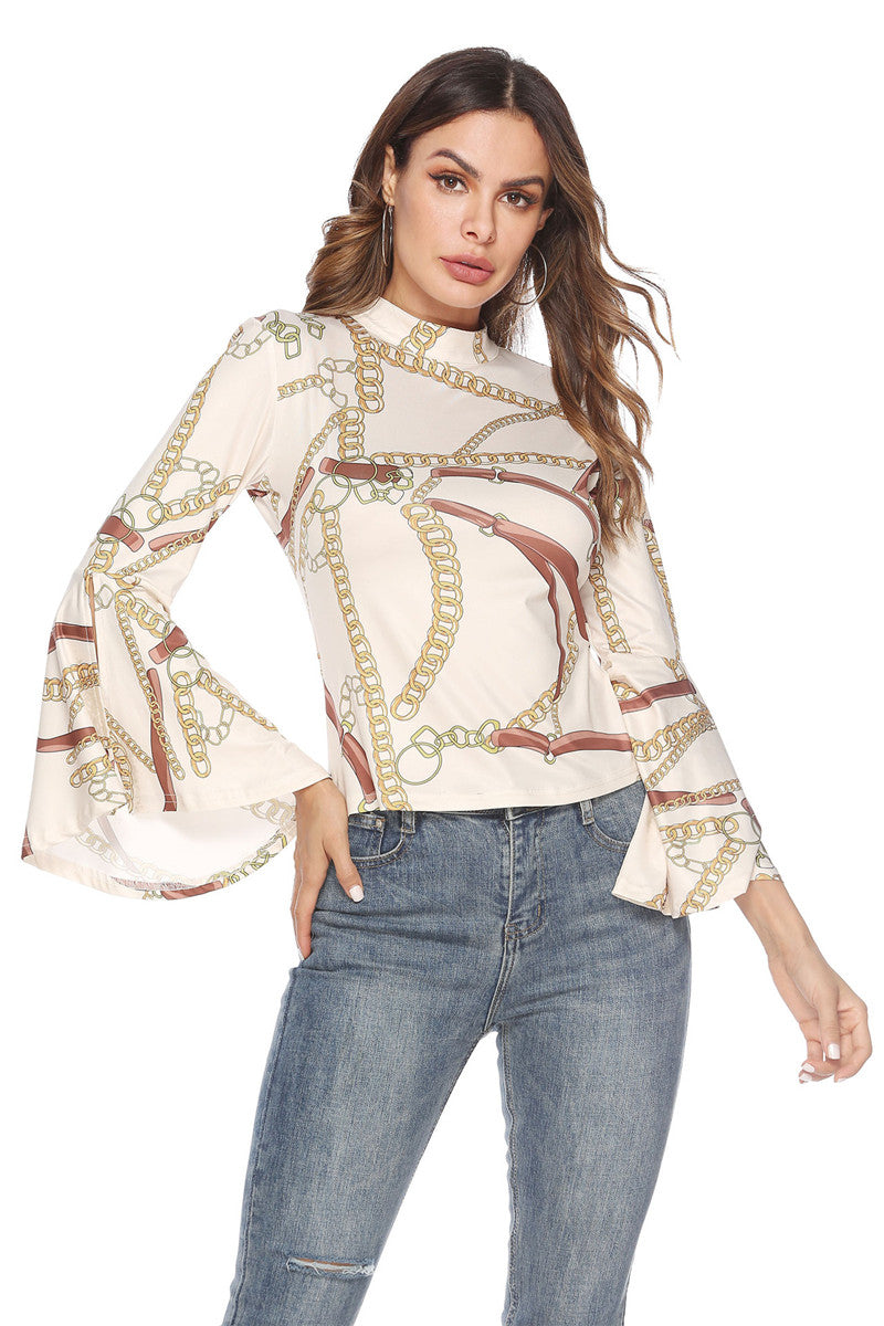 Classic Chains Print Women Blouses Shirts Back Hollow Out Ladies Top Flare Sleeve