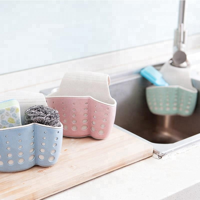 Kitchen Sponge Drain Holder Storage Rack Basket