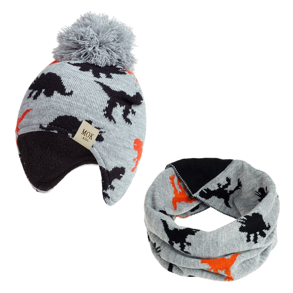 Winter Kids Knitted Dinosaur Hats Cap and Scarf Set