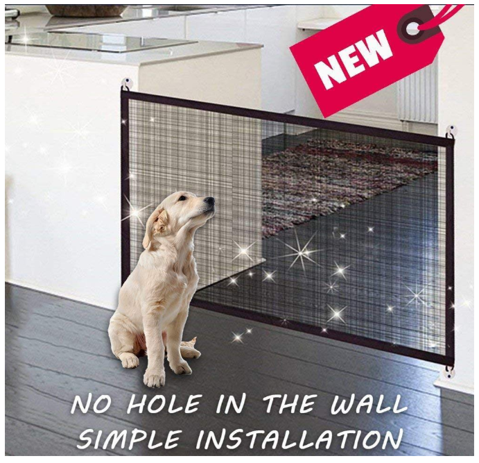 Mesh Magic Gate Folding Guard for Pet Dog Cat Safety Isolated Enclosure